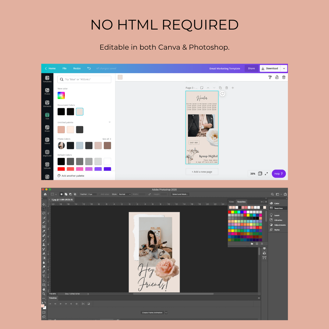 Email marketing template canva photoshop